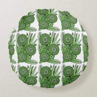 Grass Green Gerbera Daisy Flower Bouquet Round Cushion