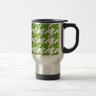 Grass Green Houndstooth Stainless Steel Travel Mug