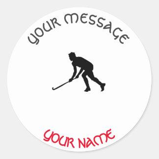 Grass Hockey Player Classic Round Sticker