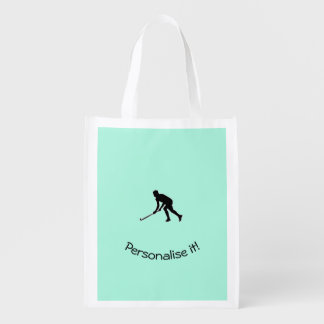 Grass Hockey Player Reusable Grocery Bag