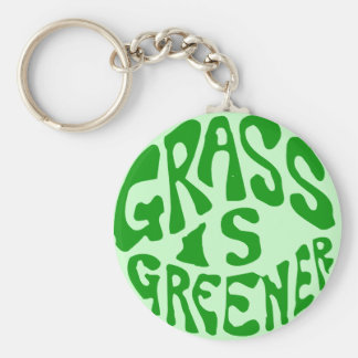 Grass is Greener Basic Round Button Key Ring