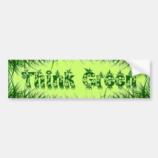 "Grass Leaves & Flowers ""Think Green"" Bumper Sticker"