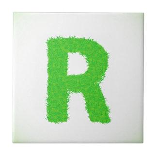 grass letter ceramic tile
