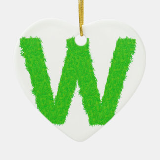 Grass Letter W Ceramic Ornament