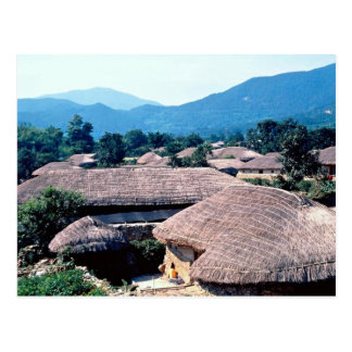 Grass-roofed houses postcard
