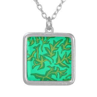 grass silver plated necklace