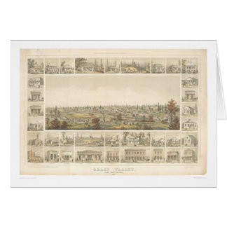 Grass Valley, CA. Panoramic Map 1858 (0663A) Greeting Card