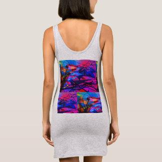 Grassbird-pink and blue sleeveless dress