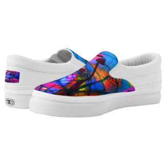 Grassbird pink and blue Slip-On Sneakers