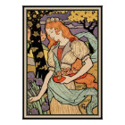 Grasset Art Nouveau Poster: Irises & Roses Poster