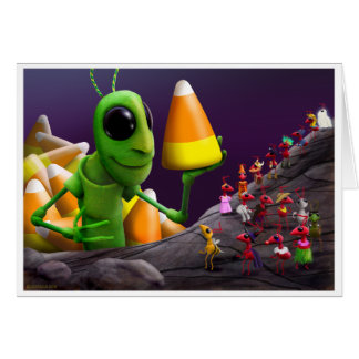 Grasshopper and Ants Halloween Card