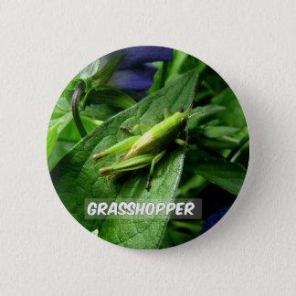 Grasshopper on leaf 6 cm round badge