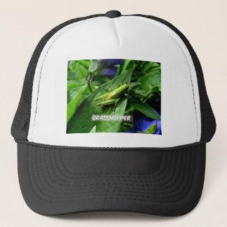Grasshopper on leaf trucker hat