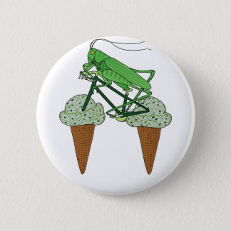 Grasshopper Riding Bike W/ Grasshopper ice cream 6 Cm Round Badge