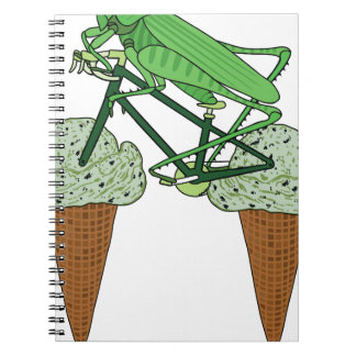 Grasshopper Riding Bike W/ Grasshopper ice cream Notebook