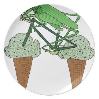 Grasshopper Riding Bike W/ Grasshopper ice cream Plate