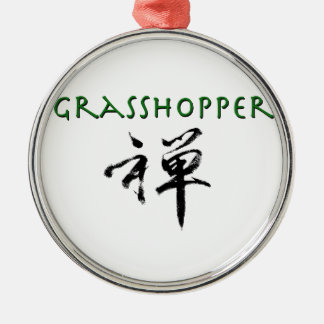 "Grasshopper with ""Zen"" symbol Metal Ornament"