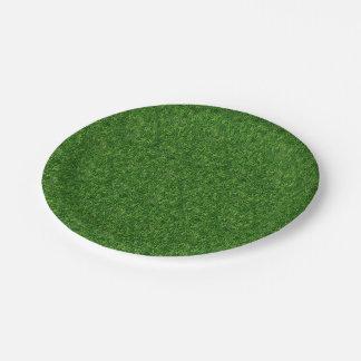 Grassy field paper plate
