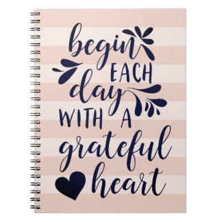 Grateful Heart | Hand Lettered Typography Quote Spiral Notebook
