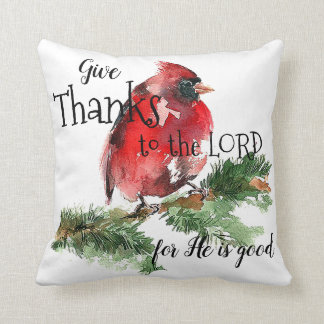 """Grateful Heart"" Watercolor Red Cardinal Pillow"