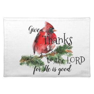 """Grateful Heart"" Watercolor Red Cardinal Place Mat"