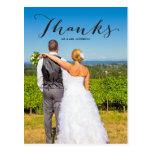 Gratitude Black | Photo Wedding Thank You Postcard