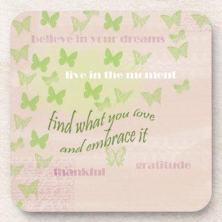 Gratitude Butterflies Beverage Coaster