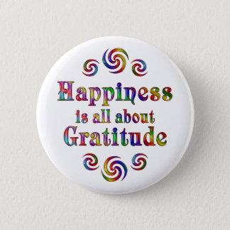 GRATITUDE HAPPINESS 6 CM ROUND BADGE