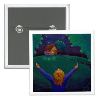 Gratitude happiness wonder joy acceptance fun art 15 cm square badge