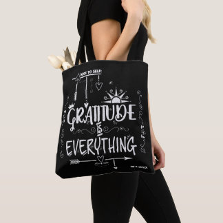 Gratitude is Everything Note to Self Chalkboard Tote Bag