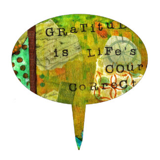 Gratitude is Life's Course Correction Cake Toppers