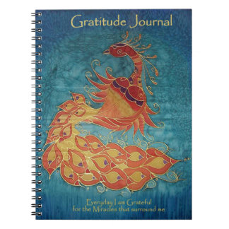 Gratitude Journal: Peacock Silk Painting By Kim Notebook
