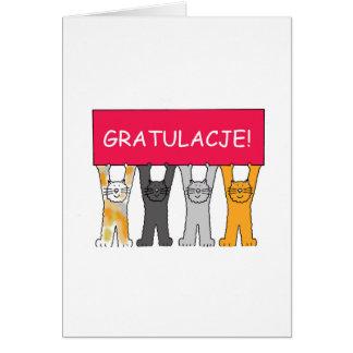 Gratulacje! Congratulations in Polish. Greeting Card
