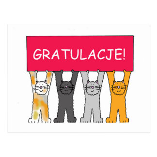 Gratulacje! Congratulations in Polish. Postcard