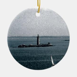 Graves Light in Boston Harbor Round Ceramic Decoration