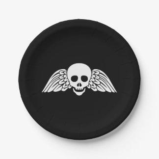 "Gravestone Winged Skull Halloween Paper Plates 7"""