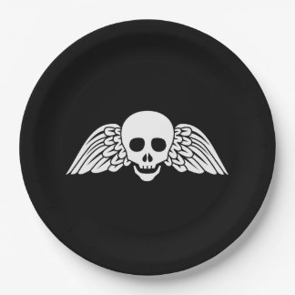 "Gravestone Winged Skull Halloween Paper Plates 9"""