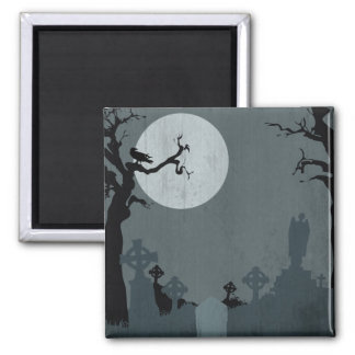 Graveyard and Full Moon for Halloween Square Magnet