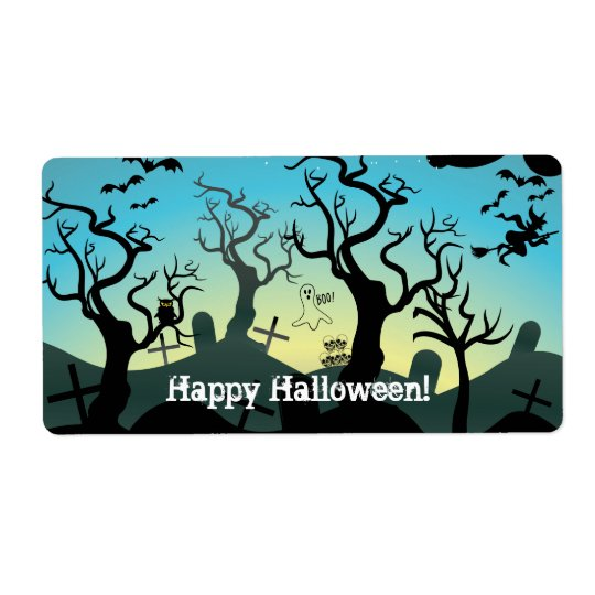Graveyard black, aqua, yellow Halloween custom Shipping Label