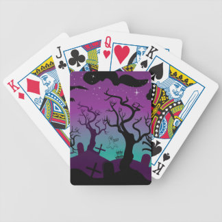 Graveyard black, purple, turquoise Halloween Bicycle Playing Cards