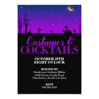 Graveyard Costumes and Cocktails Halloween Party Card