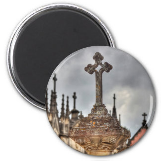 Graveyard cross close-up, Portugal 6 Cm Round Magnet