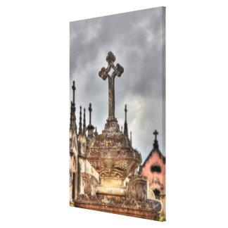 Graveyard cross close-up, Portugal Canvas Print