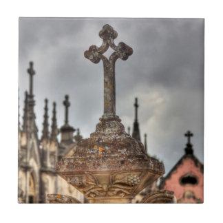 Graveyard cross close-up, Portugal Ceramic Tile