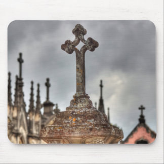 Graveyard cross close-up, Portugal Mouse Pad