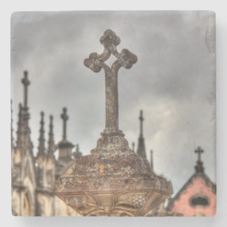 Graveyard cross close-up, Portugal Stone Coaster