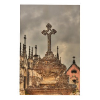 Graveyard cross close-up, Portugal Wood Print