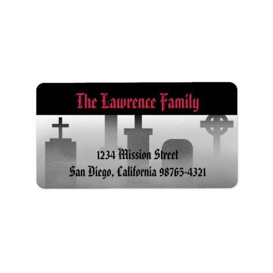 Graveyard fog creepy cemetery Halloween address Label