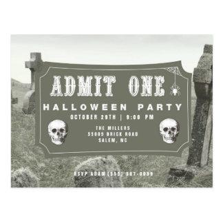 Graveyard Halloween Party Ticket Invitation Postcard