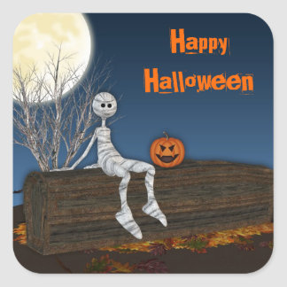 Graveyard Mummy,  Halloween Square Sticker